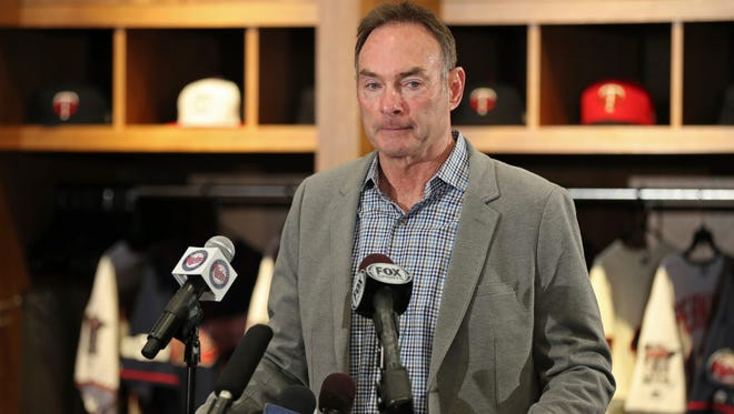 Minnesota Twins manager Paul Molitor speaks during a press conference in Minneapolis, Minn., Tuesday, Oct. 10, 2017. The Twins announced Monday that Molitor is getting a new three-year deal that keeps him under contract through 2020.