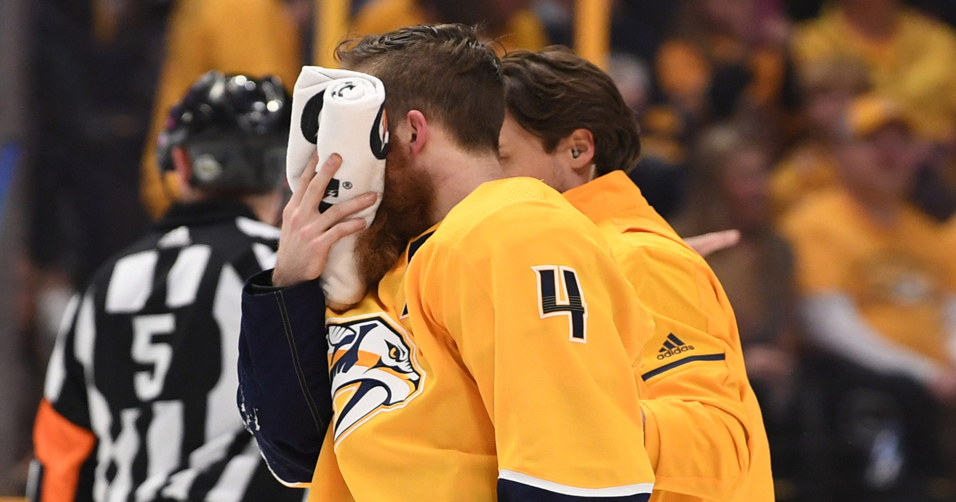 1a0f03a9537 Cut faces, broken bones, frayed ACLs: Injuries don't slow down players in  NHL playoffs