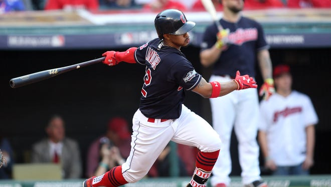 Francisco Lindor drives in the go-ahead run in the third inning.