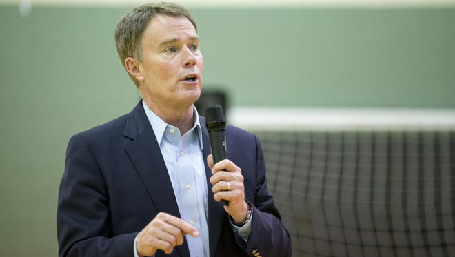 Indianapolis Mayor Joe Hogsett visited the Bethel Family Center, one of three visits he was making to area communities March 31.