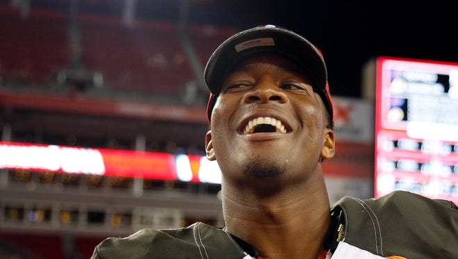 Aug 26, 2016; Tampa, FL, USA;  Tampa Bay Buccaneers quarterback Jameis Winston (3) smiles after they beat the Cleveland Browns at Raymond James Stadium. Tampa Bay Buccaneers defeated theCleveland Browns  30-13.