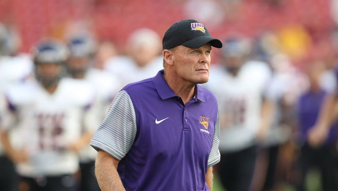 Sep 2, 2017; Ames, IA, USA; Northern Iowa Panthers head coach Mark Farley walks the field before their game against the Iowa State Cyclones at Jack Trice Stadium.