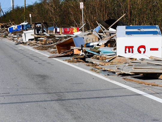 Debris cleared from Hwy 1 in the Florida Keys.