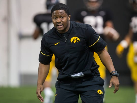 Iowa football assistant coach Derrick Foster works
