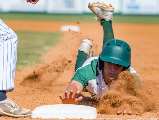 Rams shortstop Cole Romero dives back to first ahead