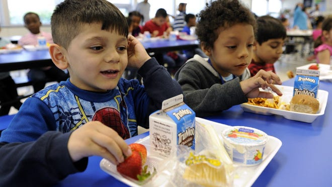 Biden Arias-Romers, 5, eats lunch at a school in Alexandria, Va.