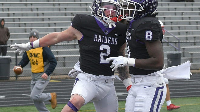 Mount Union junior Josh Petruccelli scores a fourth-quarter touchdown against North Central in the Division III playoffs last season.