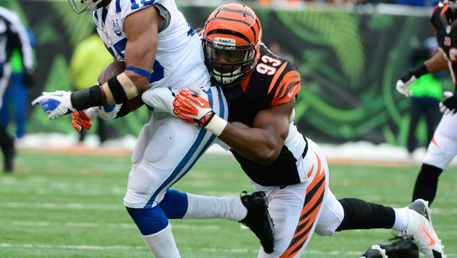 Bengals DE Michael Johnson's sack production dipped sharply in 2013.