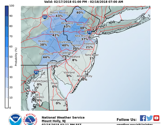 Snowfall projections for Feb. 17, 2018. The map shows