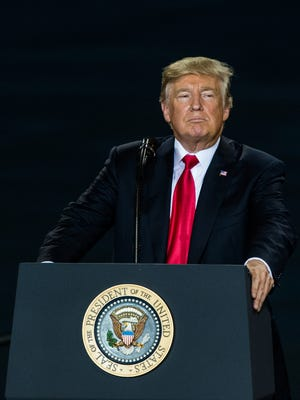 President Donald Trump talked about his tax reform plan at the Pennsylvania Air National Guard 193rd Special Operations Wing at the Harrisburg International Airport in Middletown, PA on Wednesday, Oct. 11, 2017.