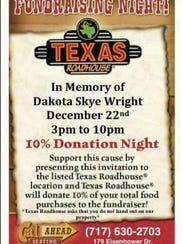 Flyer for Texas Roadhouse Fundraiser