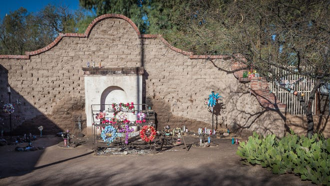 """El Tiradito, also known as the """"Wishing Shrine,"""" is now a small city park found along the Presidio Trail in Tucson."""