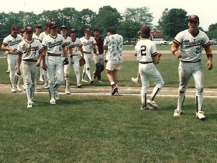 Western Hills High School walks off the field after beating Mentor 12-5 in a state semifinal in 1986.