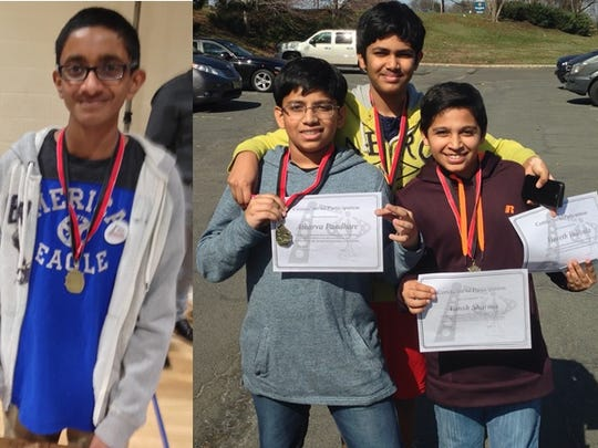 Left to right:  Bridgewater-Raritan Middle School students Varun Punnam, Atharva Pandhare, Vineeth Vaidyula, and Vansh Sharma display their medals at the Central Jersey Science Fair in Hillsborough.