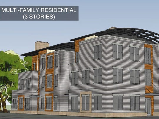 The multi-family / max density plan for the site. Estimated