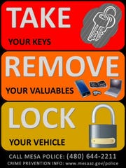 The Mesa Police Departmentencourages citizens to lock their vehicles up and take preventive steps to avoid being a victim after an increase of vehicle thefts.