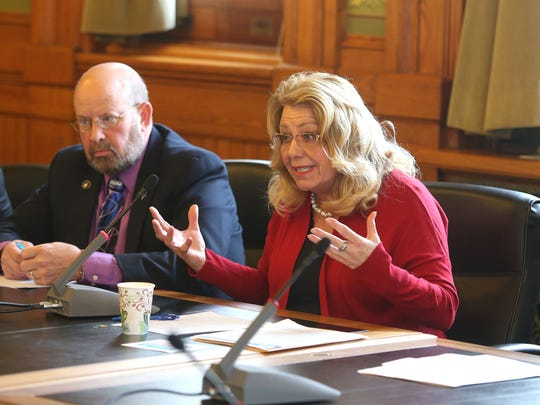 Iowa Sen. Pam Jochum, D-Dubuque, lobs questions at Department of Human Services Director Charles Palmer during a hearing on Thursday at the Capitol building in Des Moines. The department is looking into closing two mental health institutions in Iowa.