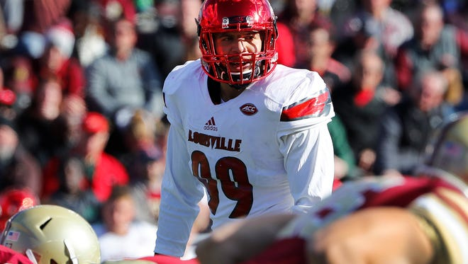 Louisville linebacker James Hearns watches during the second half of the Cardinals' 52-7 win over Boston College at Alumni Stadium in Boston on Nov. 5, 2016.