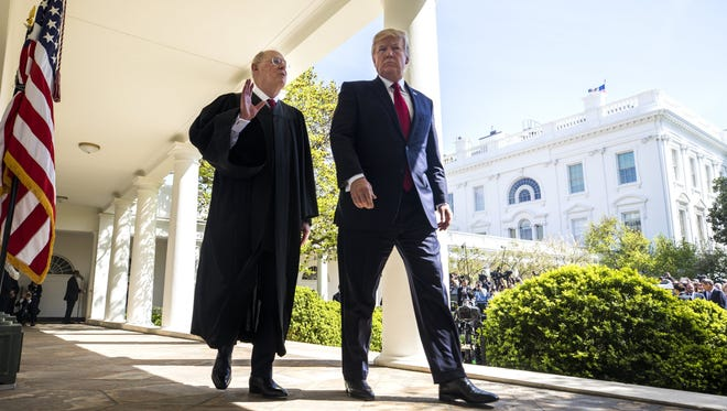 President Trump nominated 10 federal court judges Monday at a time when three Supreme Court justices -- including Anthony Kennedy, here with Trump at the swearing-in of newly confirmed Justice Neil Gorsuch last month -- could be stepping down in the coming years.