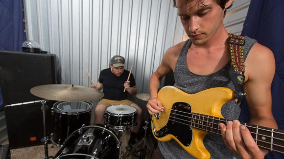 Brian Bruce and Tyler Yoder of Fiancé practice in Newark earlier this week in preparation for the band's Firefly Music Festival set June 19.