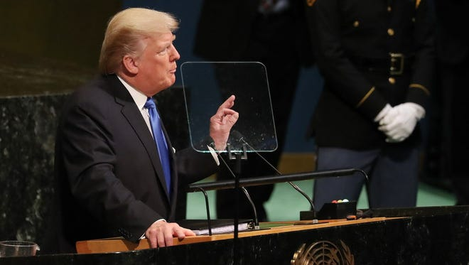 President Trump addresses the U.N. General Assembly on Sept. 19, 2017.