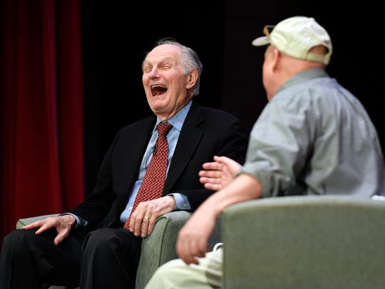 Actor Alan Alda, left, laughs at a joke from Northjersey.com columnist Bill Ervolino during the annual premier speaker event at the Kaplen JCC on the Palisades in Tenafly, NJ on Sunday, April 15, 2018.