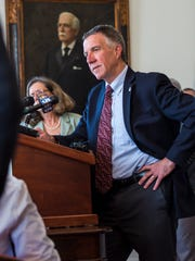 Gov. Phil Scott listens to a question during his weekly press conference at the Statehouse in Montpelier on Wednesday, May 16, 2018.
