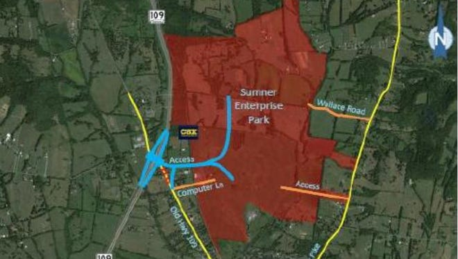 The proposed location of Sumner Enterprise Park is highlighted in red. The site is located between S.R. 109 and Dobbins Pike.