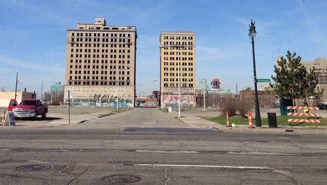 Area west of Woodward Ave. in Detroit that will be the home of the new Red Wings arena. Residents surrounding the area are establishing an advisory council that will work with the arena's developer. The Hotel Park Avenue is on the left and the Hotel Eddystone is on the right.