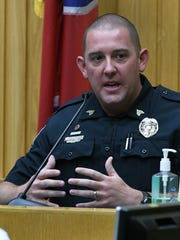 KPD Sgt. Brian Bumpus testifies in the second murder trial of Norman Eugene Clark Friday, Sep. 15, 2017. Clark is accused of killing his girlfriend, Brittany Eldridge, and their unborn son. The trial is in Knox County Criminal Court before Judge Steven Sword.