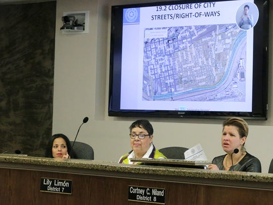 City Reps. Claudia Ordaz and Lily Limón listen Tuesday as city Rep. Cortney Niland expresses concern about some of the planned street closures during Pope Francis' Feb. 17 visit to Juárez. Niland wanted to know how residents along the César Chávez Border Highway were going to be able to leave or reach their homes.