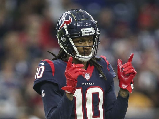 Dec 30, 2018; Houston, TX, USA; Houston Texans wide receiver DeAndre Hopkins (10) reacts after a play during the fourth quarter against the Jacksonville Jaguars at NRG Stadium. Mandatory Credit: Troy Taormina-USA TODAY Sports