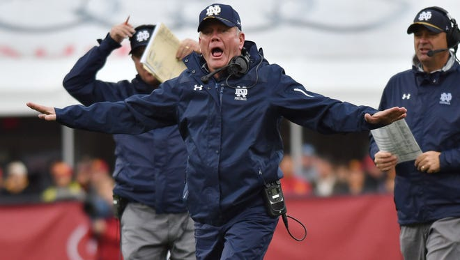 Nov 26, 2016; Los Angeles, CA, USA; Notre Dame Fighting Irish head coach Brian Kelly argues a call in the fourth quarter against the USC Trojans at the Los Angeles Memorial Coliseum. USC won 45-27. Mandatory Credit: Matt Cashore-USA TODAY Sports