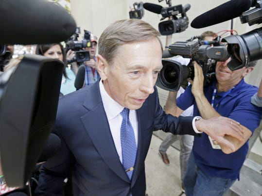 Former CIA director David Petraeus, whose career was destroyed by an extramarital affair with his biographer, arrives for sentencing at the federal courthouse in Charlotte, N.C., Thursday, April 23, 2015. Petraeus is expected to plead guilty to sharing top government secrets with his biographer.