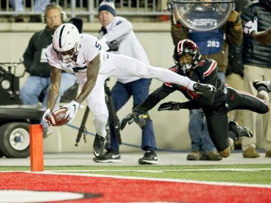 Penn State wide receiver DaeSean Hamilton dives into the end zone for a touchdown against Ohio State at Ohio Stadium in Columbus, Ohio, on Saturday, Oct. 17, 2015. Ohio State won, 38-10. (Abby Drey/Centre Daily Times/TNS)