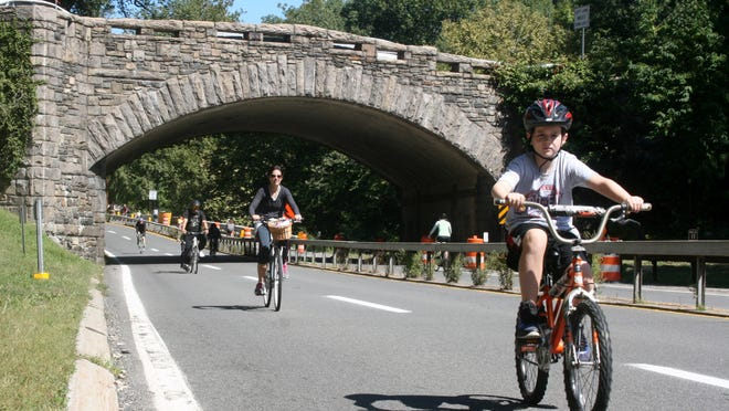 Cyclists of all ages enjoy the Bronx River Parkway on Bike Sundays.