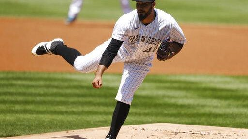 Colorado Rockies starting pitcher Antonio Senzatela works against the San Diego Padres in the first inning on Sunday at Coors Field in Denver.