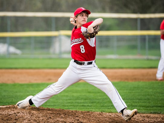 Annville-Cleona's Eli Setlock delivers a pitch as Annville-Cleona