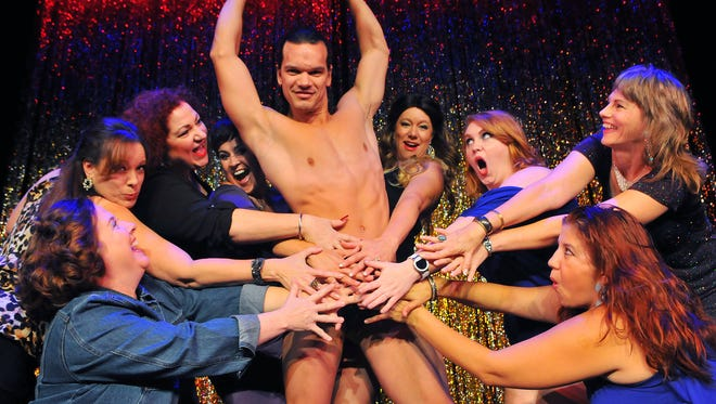 Tinus Kdze of Orlando as Keno and the Club girls in the Full Monty opening September 25th-Oct 18 Titusville Playhouse.
