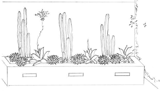 Brian Kissinger's sketch for planting a cement block raised planter bed. He suggests using three Mexican fence-post cactuses, three Agave titanota and scattered Scatter Agave Victoriae-reginae.