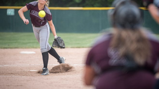 Wes-Del's Maddie Richards sends one across the plate Tuesday afternoon during the IHSAA Softball Regional. Wes-Del lost to Tri with a final score of 11-4.