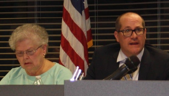 Cold Spring Mayor Nancy Bay and Cameron Blau, an attorney for the city, during the Jan. 12 special City Council meeting.