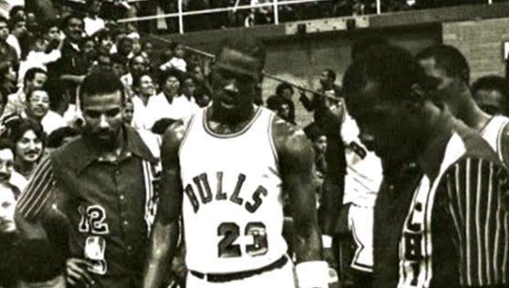 Michael Jordan made his home debut for the Chicago Bulls in a preseason contest in East Chicago, Ind.
