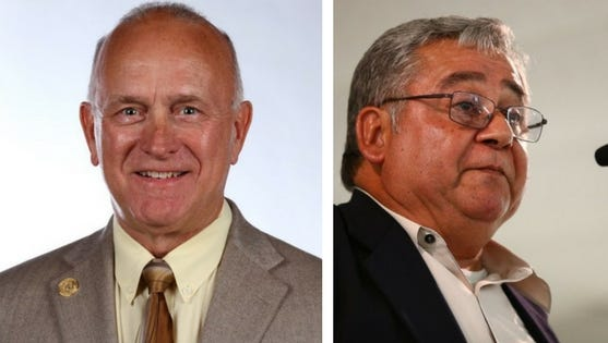 Mike Pusley, left, and Robert Hernandez are the candidates for Nueces County Commissioner Pct. 1.