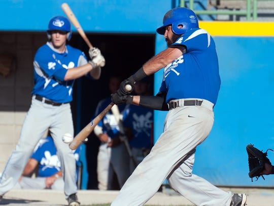 Battle Creek HBC / Behnke Jimmy Jackson gets a hit early in game play during Friday night's NABF 2016 World Series against the Brooklyn Sports Fever.