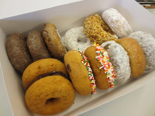 A bakers' dozen of doughnuts from Donut King.