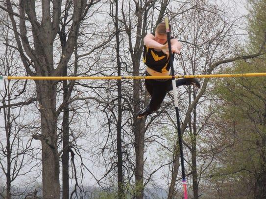 Colonel Crawford sophomore Kaleb Landin clears 12-feet