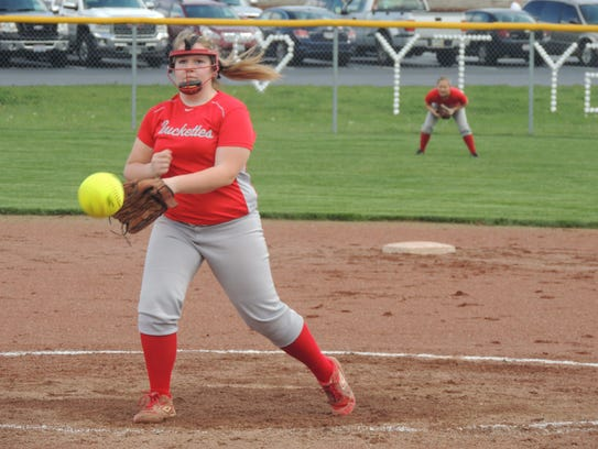 Buckeye Central pitcher Miranda Wurm delivers a pitch