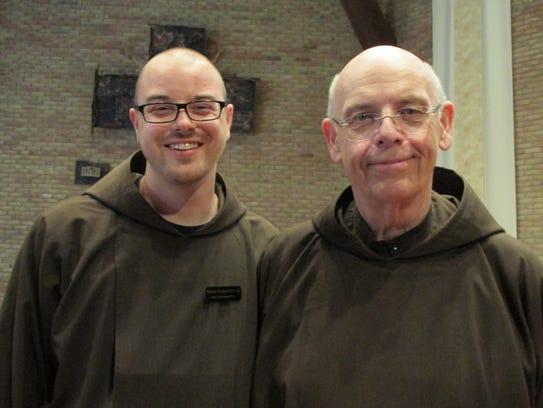 Capuchin Friar Nicholas Blattner, seen here at left