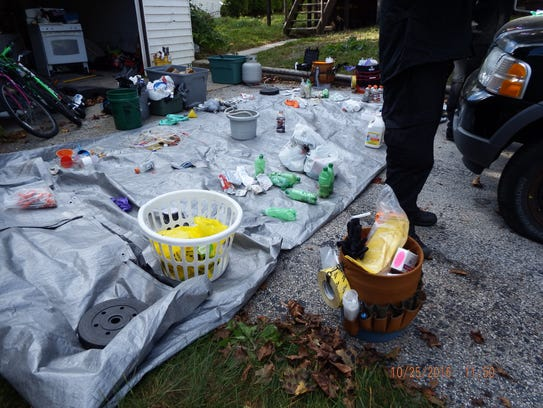 A number of materials related to meth production were